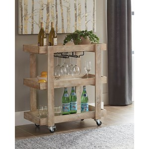 Rustic Serving Cart with Casters