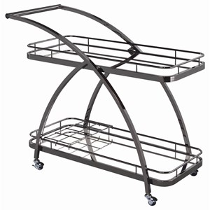 Contemporary Serving Cart with Mirrored Bottom