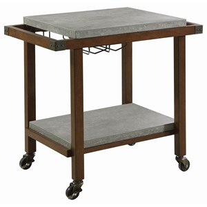 Serving Cart with Wine Glass Storage and Concrete Top