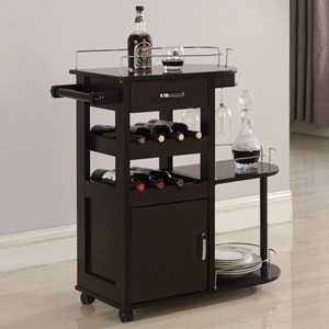 Contemporary Serving Cart with Wine Storage