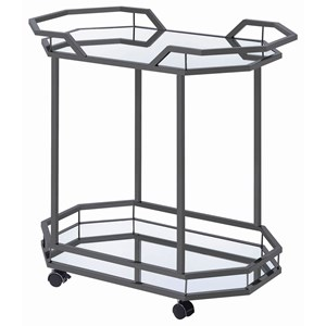 Glam Serving Cart with Mirrored Bottom