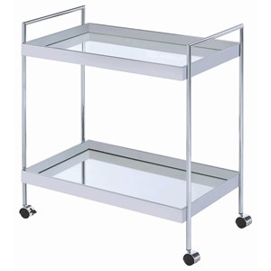 Metal Serving Cart with Mirrored Bottom and Casters