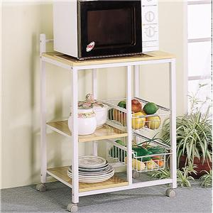 White Serving Cart with 3 Shelves & 2 Storage Compartments