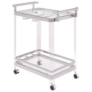 Contemporary Serving Cart with Acrylic Legs
