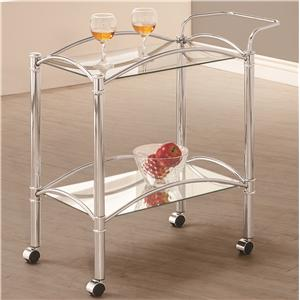 Chrome Serving Cart with Mirrored Bottom Shelf and Casters