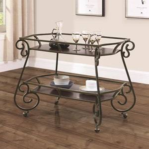 Traditional Serving Cart with Scroll Accents