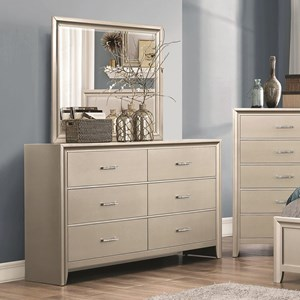 6 Drawer Dresser and Mirror with Wood Frame