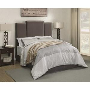 Full Upholstered Headboard in Grey Velvet