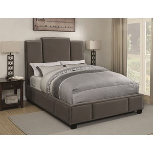 Queen Upholstered Bed in Grey Velvet