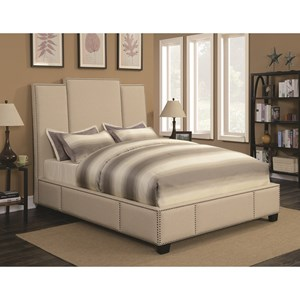 Full Upholstered Bed in Beige Fabric