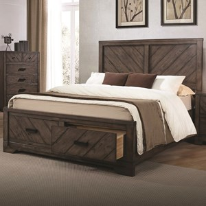Rustic Queen Size Storage Bed