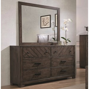 6 Drawer Dresser with Landscape Mirror