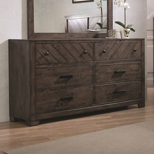 6 Drawer Rustic Dresser w/ Felt Lined Drawers