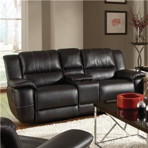 Transitional Double Reclining Gliding Love Seat with Console