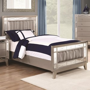 Full Bed with Mirrored Panel Accents