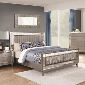 California King Bed with Mirrored Panel Accents