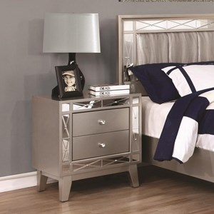 2 Drawer Nightstand with Mirrored Panel Accents