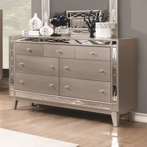 7 Drawer Dresser in Mercury Metallic Finish