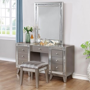 Glam Vanity Desk, Stool and Mirror Combo
