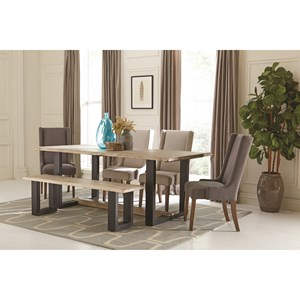 Contemporary Table and Chair Set with Bench