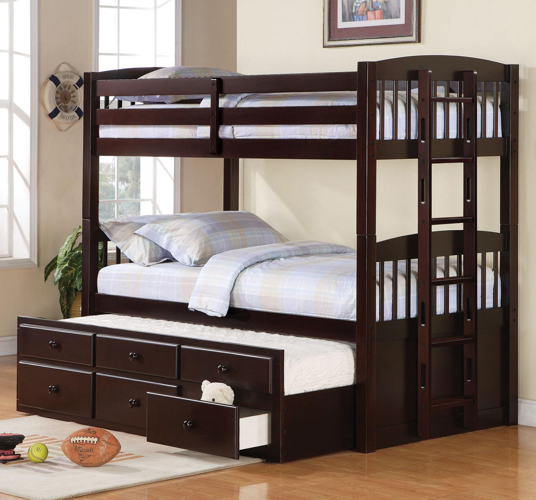 Logan Twin over Twin Bunk Bed with Trundle by Coaster at Prime Brothers Furniture