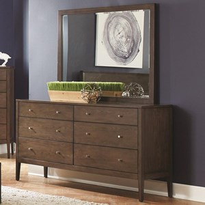 6 Drawer Dresser and Mirror Combo in Ash Brown Finish