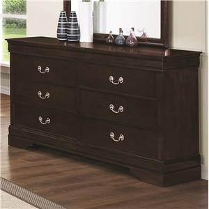 6 Drawer Dresser with Silver Bails