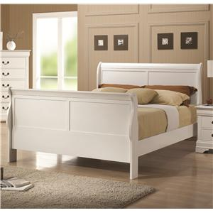 White Finish Queen Sleigh Style Bed
