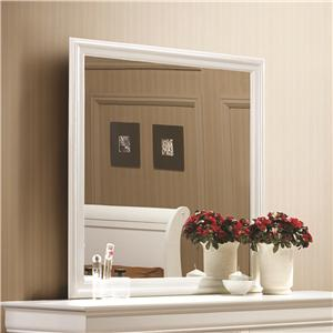 White Beveled Edge Square Mirror