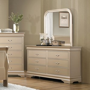 6 Drawer Dresser and Vertical Mirror Combination