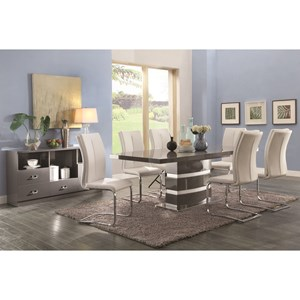 Contemporary Table and Chair Set with High-Gloss Finish