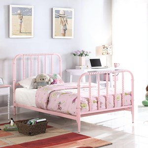 Casual Full Bed with Pink Finished Bobbin Motifs