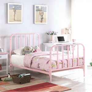 Casual Twin Bed with Pink Finished Bobbin Motifs