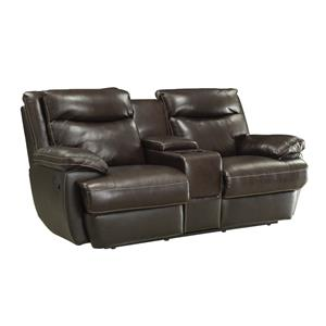Casual Leather Match Reclining Loveseat with Storage Compartment and Cupholders