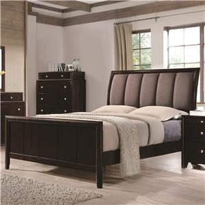 Eastern King Bed with Upholstered Headboard