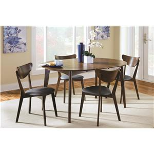 Mid-century Modern 5-Piece Solid Wood Dining Set