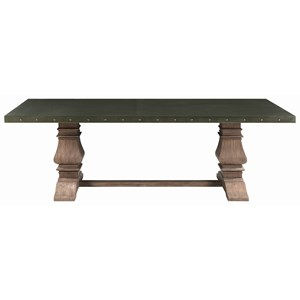 Transitional Dining Table with Metal Top