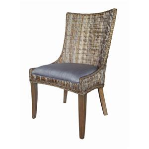 Country Cottage Woven Dining Chair with Cushioned Seat