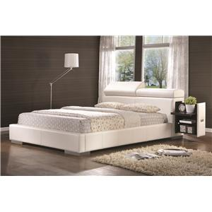 Leatherette Upholstered Queen Bed with Pull-Out Drawer