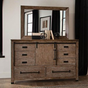Modern Rustic Dresser and Mirror Set