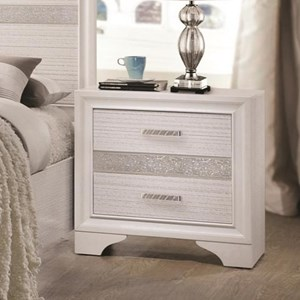 2 Drawer Night Stand with Hidden Jewelry Tray