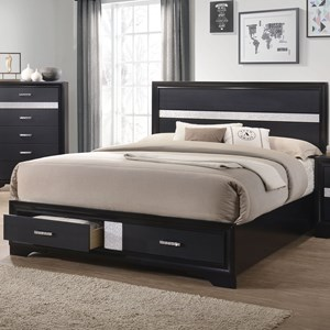 California King Storage Bed with 2 Dovetail Drawers
