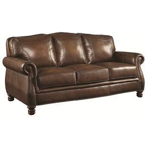 Traditional Sofa with Rolled Arms and Nail head Trim
