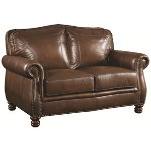 Traditional Love Seat with Rolled Arms and Nail head Trim