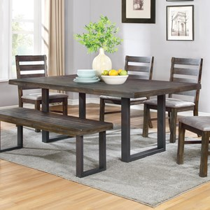 Rustic Dining Table with U-Shaped Base