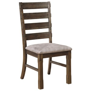 Rustic Dining Chair with Ladderback and Upholstered Seat