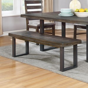 Rustic Dining Bench with Metal U-Base