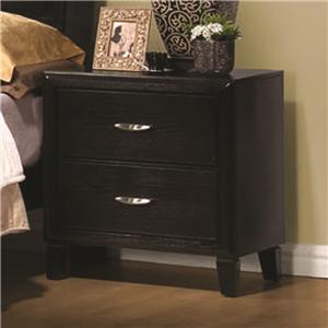 Two Drawer Nightstand with Metal Hardware