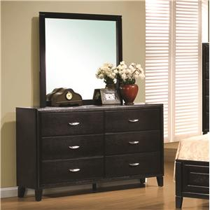 Contemporary 6 Drawer Dresser & Mirror Combo