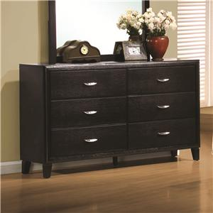 Stained Black 6 Drawer Dresser